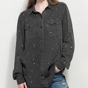 Zara Paint Splatter Gungy Button Collar Shirt Top